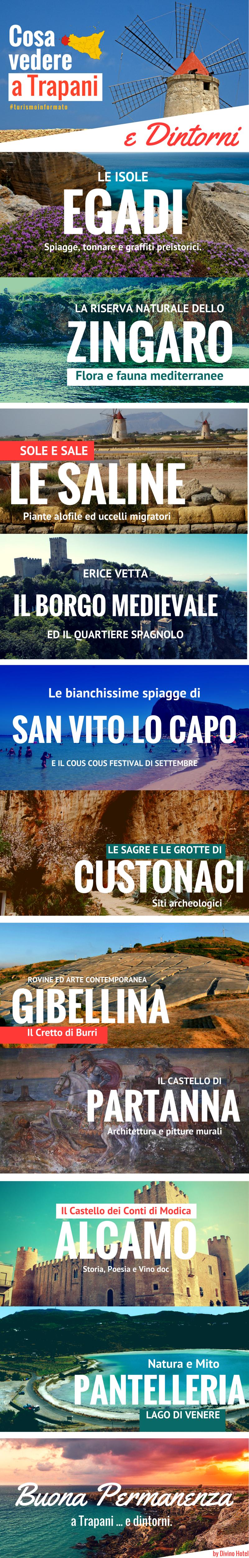 In questa immagine ci sono le foto sulle cose da vedere nella provincia di Trapani - Infografica