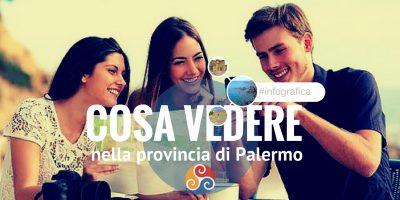 Questa immagine mostra tre ragazzi e la scritta Cosa vedere vicino Palermo - Infografica