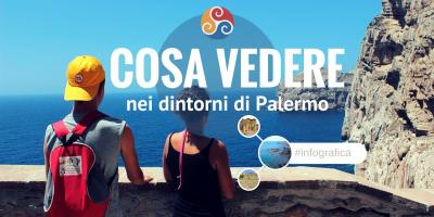 Questa immagine è la copertina di un articolo dal titolo Cose da vedere vicino Palermo - Infografica 2 di 3 e mostra due bimbi affacciati sul mare di Palermo da un balcone in pietra.
