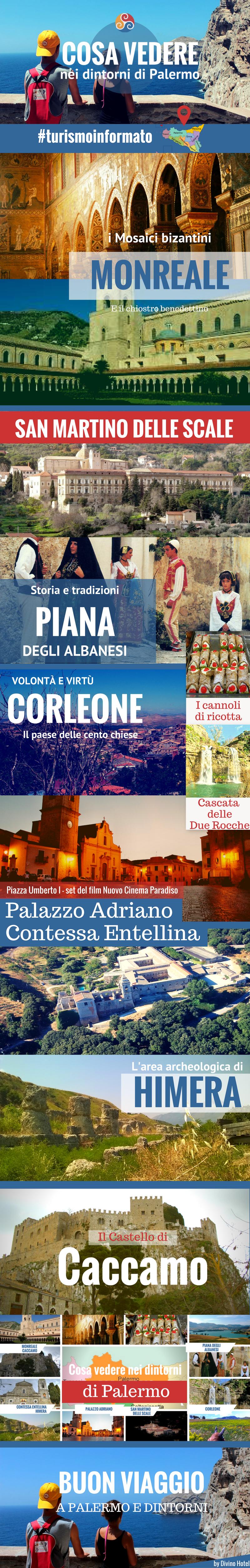 Questa Infografica è inserita in un articolo dal titolo Cose da vedere vicino Palermo - Infografica e mostra luoghi di interesse turistico nei dintorni di Palermo