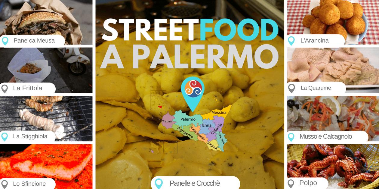 Questa immagine raccoglie le fotografie del cibo di strada che trovi a Palermo.