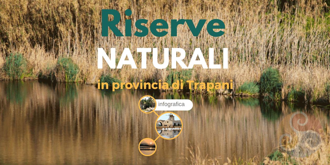 Questa immagine è la copertina dell'articolo Riserve naturali nella Sicilia occidentale - Infografica e mostra una foto della Riserva orientata delle Saline di Trapani e Paceco e la scritta Riserve naturali in provincia di Trapani