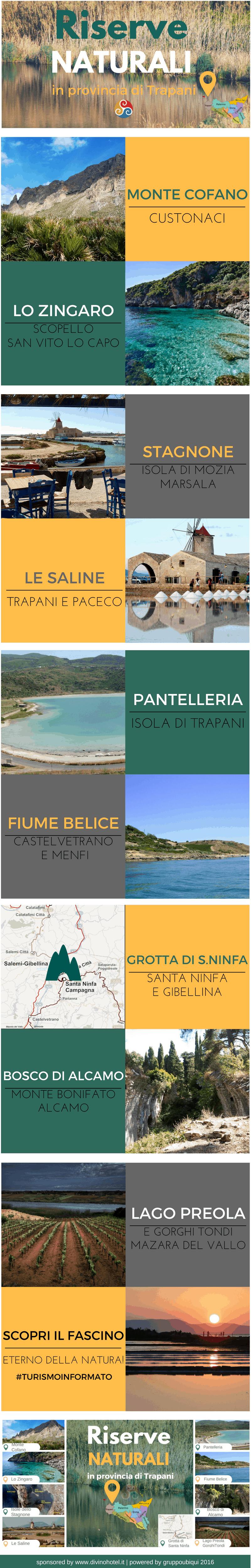 In questa infografica sono inserite le foto e le immagini di tutte le più belle riserve naturali nella Sicilia occidentale.